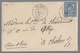 SAINT  DESERT : 1879 :  Cachet à Date  Type 17 Sur Sage 15c Bleu :  ( Saône Et Loire ) : - 1877-1920: Periodo Semi Moderno