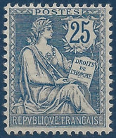 FRANCE Mouchon 1900 N°127*  25c Bleu Très Frais TTB - 1900-02 Mouchon