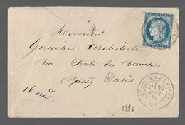 St JULIEN DE CIVRY  : 1876 :  CàD  Type 17  Sur  Cérès 25c  Bleu ( N° 60 )  :  ( Saône Et Loire ) : - 1849-1876: Periodo Classico