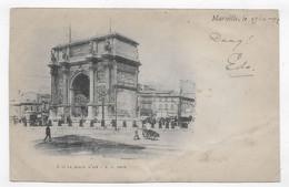 (RECTO / VERSO) MARSEILLE EN 1899 - N° 3 - LA PORTE D' AIX - BEAU CACHET - PLIS EN BAS A DROITE - CPA PRECURSEUR - Monuments