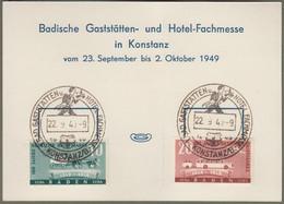 """Franz. Zone Baden: Sonderkarte, Mi.-Nr. 54-55 SST: """" Badische Gaststätten- Und Hotel-Fachmesse 1949 """" Xx - Zona Francese"""