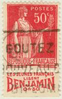 """FRANCE 1933 - Pub """"BENJAMIN"""" (jeunes Français...) Sur Yv.283 50c Paix T.I (A2) - Publicités"""