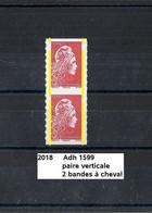 Variété Paire Adhésifs De 2018 Neuf** Y&T N° 1599 Avec 2 Bandes à Cheval - Variétés: 2010-.. Neufs