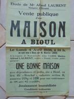 JM14.02 / VIEUX PAPIERS / AFFICHE NOTARIALE / 55 X 38 Cm / VENTE MAISON BIOUL - 1938 - Manifesti