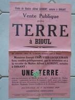 JM14.02 / VIEUX PAPIERS /  AFFICHE NOTARIALE / 50 X 33 Cm / VENTE D UNE TERRE  - BIOUL - 1929 - Manifesti