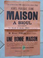 JM14.02 / VIEUX PAPIERS /  AFFICHE NOTARIALE / 56 X 36 Cm / VENTE D UNE MAISON  - BIOUL - 1941 - Manifesti