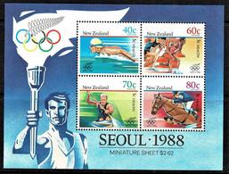 New Zealand 1988 Health - Seoul Olympics Minisheet MNH - Ongebruikt