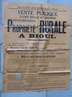 JM14.02 / VIEUX PAPIERS /  AFFICHE NOTARIALE / 64X 50 Cm / VENTE PROPRIETE RURALE - BIOUL - 1935 - Manifesti