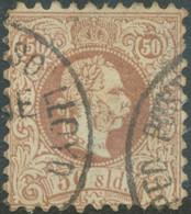 ÖSTERREICH POST IN DER LEVANTE 1867, Kaiser Franz Joseph 50 Soldi Braun Gezähnt Lz. 9, Grober Druck - Oriente Austriaco