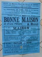 JM14.02 / VIEUX PAPIERS / MAXI AFFICHE NOTARIALE / 74X 55cm / VENTE MAISON ET PATURE - BIOUL-1958 - Manifesti