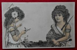 CPA 1913 Illustrateur ? Enfants, Fillettes - Chasse Aux Papillons - 1900-1949