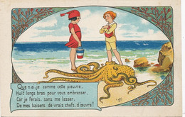 Art Card Enfant Avec Pieuvre Signée E. Orot  Décor Marin Algues Octopus - Fish & Shellfish