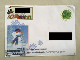 USA Private Cover Forever Stamp Circular Happy Holidays Postmark Inverted On Front & Back Of Cover! Boston Postmark - Cartas