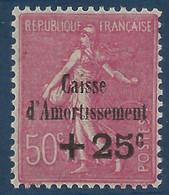 """France Caisse Amortissement N°254a**  Variété Sans Point Sur Le """"I"""" D'amortisssement Signé Calves (cote Yvert : 175€) - Variétés: 1921-30 Neufs"""