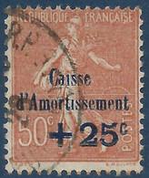 """France Caisse Amortissement N°250b Obl Variété Sans Point Sur Le """"I"""" De Caisse Signé Calves (cote Yvert : 60 €) - Varieties: 1921-30 Used"""