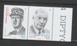 FRANCE / 2020 / Y&T N° 5444/5445 ** : Diptyque Général De Gaulle X 1 BdF D - Ungebraucht