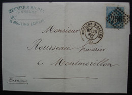 Moulin Sur Allier 1871, Meunier Et Michel Manufacture De Cuirs, Lettre Pour Montmorillon - 1849-1876: Periodo Clásico