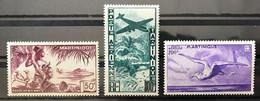 MARTINIQUE 1947 - NEUF** / MNH - Série Complète YT PA 13 / 15 - Lire Le Descriptif - LUXE - CV 60 EUR - Airmail