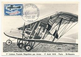 FRANCE - 2 Cartes Maximum - 1ère Liaison Postale Régulière Par Avion - Paris Et St Nazaire - 17 Aout 1968 - Flugzeuge