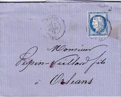 PARIS - (60) - CAD - LE 7 AVRIL 1876 - CERES - N°60 - LETTRE ENTETE LES FILS DE PEPIN-VEILLARD A ORLEANS - TEXTE ET SIGN - 1849-1876: Klassieke Periode