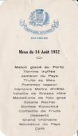 25 – PONTARLIER – MENU DU GRAND HOTEL DE LA POSTE 14 AOUT 1932 – Banquet Du Concours International De Musique - Menu