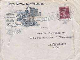 01 – FERNEY VOLTAIRE – Hôtel Restaurant Voltaire – Enveloppe Commerciale Illustrée. Circulée à Destination De Pontarlier - Pubblicitari