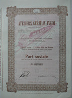 S.A. Ateliers Germain-Anglo -part Sociale - Ferrocarril & Tranvías