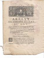 Arrest Du Conseil D'état Du Roy 1716:Comte De Moncaffin Propriétaire De La Terre De Cadillac.... - Decrees & Laws