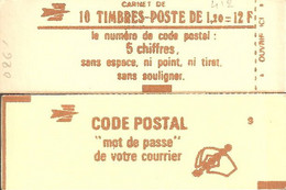 """CARNET 1974-C 3 Sabine De Gandon """"CODE POSTAL"""" Daté 10/7/78. Parfait état TRES TRES RARE - Uso Corrente"""