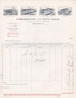 59 TOURCOING FACTURE   Filature Teinturerie  De Petit Quevilly  , De CROIX  ETS MOTTE Frères   - X105 NORD - 1900 – 1949