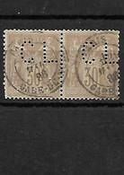 1253 TYPE SAGE YT 80 Très Belle Paire Oblitérée Paris Gare De Lyon   Perforé/perfin/lochung - 1876-1898 Sage (Tipo II)