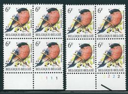 Buzin Nr 2295**  Blok Van 4 Plaatnr 1 En 2  H2 Groene Gom - 1985-.. Vogels (Buzin)