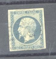FRX  790  -  France  :  Yv  14A  (o)   Bleu Laiteux Sur Vert - 1853-1860 Napoleon III