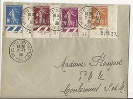 Lettre De 1938 - Paris à Coulommiers - Affranchie Avec 4 Coins Datés Semeuse  (lettre Un Peu Déchirée Au Dos) - 1921-1960: Moderne