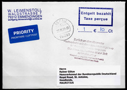 "Corona Covid 19 Postal Service Interruption ""Zurück An Den Absender... "" Reply Coupon Paid Cover To MAURITIUS - Medicina"
