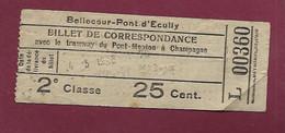 140221 - TICKET CHEMIN DE FER TRAM METRO TRAIN - LYON L00360 Bellecour Pont D'Ecully 2e Classe 25 Cent. - Europe