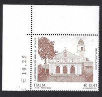 Italia 2002; Santuario Di Santa Maria Delle Grazie A Cosenza, Francobollo Di Angolo Superiore. - 2001-10: Mint/hinged