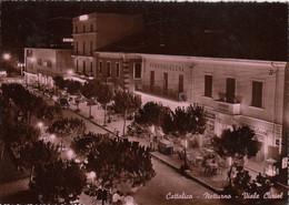 CATTOLICA-RIMINI-NOTTURNO-VIALE CURIEL-CARTOLINA VERA FOTOGRAFIA VIAGGIATA IL 4-4-1957 - Rimini