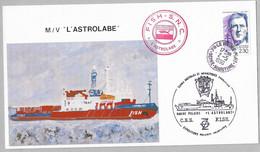 """B2 - TAAF Carte Postale M/V """" L'ASTROLABE"""" Du 2.5.1990 Le Havre.Cachets Du Bateau.    (format 124x220mm) - Cartas"""