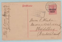 Reich, S.S.,, Tongeren Naar Heidelberg Militärische Uberwachtungsstelle Luttich Tongeren Naar Heidelberg - Enteros Postales