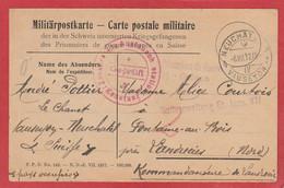 Carte En Franchise - Internement Des Prisonniers De Guerre Neuchâtel  - Suisse - 1917 Vers Landrecies - WW I