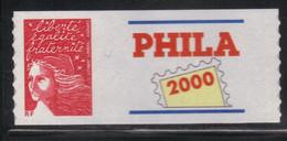 France Phila 2000 Adhésif Rouge Grand Logo Neuf** MNH (AF81) - KlebeBriefmarken
