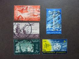 EGYPTE (R.A.U.) Année 1959 à 1961, POSTE AERIENNE, YT N° 81 - 82 - 83 - 85 - 86, Oblitérés - Aéreo