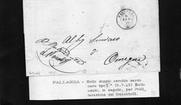CG19 - Piego NO TESTO Da Pallanza Per Omegna 6/7/1849 - Annullo Doppio Cerchio Piccolo Nero - ...-1850 Préphilatélie