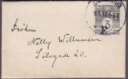 1916. Numeral. 3 Øre Grey. Perf. 14x14½ KJØBENHAVN 18.6.16 On Very Small Envelope.  (Michel 79a) - JF414816 - Briefe U. Dokumente