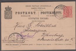 1898. ÅLAND. MARIEHAMN 12 VII 98. On FINLAND 10 PEN POSTKORT To Germany. Arrival Canc... () - JF414853 - Aland