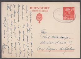 1950. SVERIGE BREVKORT 20 ÖRE Gustav To German Cancelled Postkontoret I Göteborg 25 J... () - JF414880 - Ganzsachen