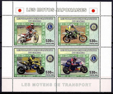 Congo Racing Rally Japanese Motorcycle Sports Rotary Lions International M/s MNH - Non Classificati