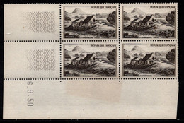 FRANCE N°843** GERBIER DE JONC COIN DATE DU 6/9/1950 - 1950-1959