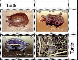 Nepal 2011 Turtles Tortoise Reptiles Animals Marine Conservation 4v MNH - Vissen
